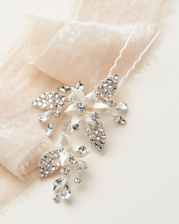 Silver Floral & Crystal Bridal Hair Pin