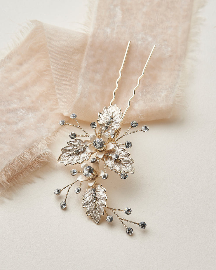 Floral Leaf Hair Pin Gold