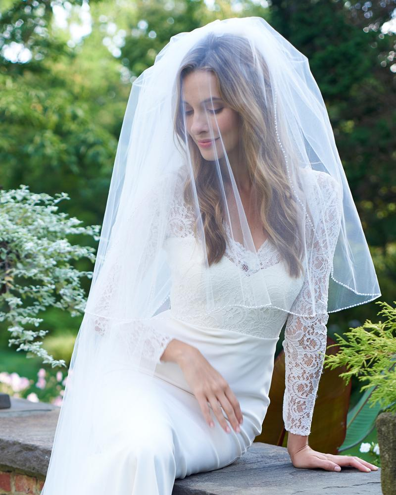 Details about  /Women Simulated Beaded Pearl Cathedral Veils Cut Edge Style Polyester Bride Veil