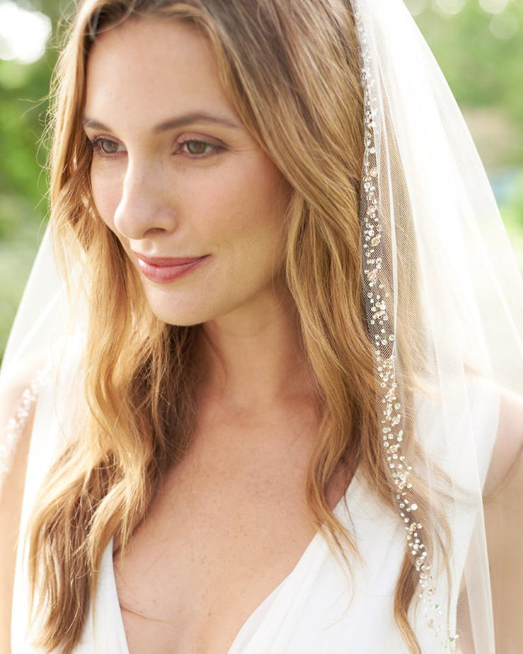 Rose Gold Beaded Veil