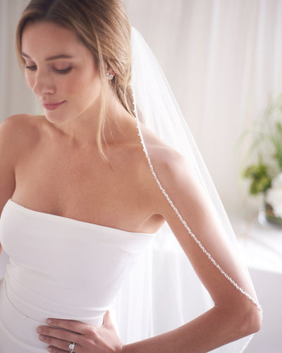 Beaded Edge Ivory Wedding Veil