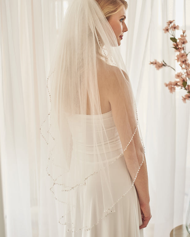 2 Layer Delicate Crystal Beaded Veil