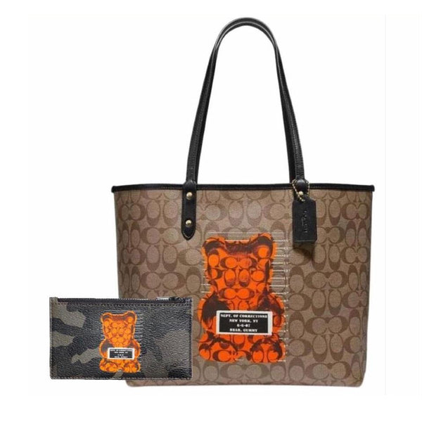 2 Piece Set: Coach Tote And Zippy Wallet-Bags-Coach-Brown/Tan/Black/Camo/Orange-JustGorgeousStudio.com