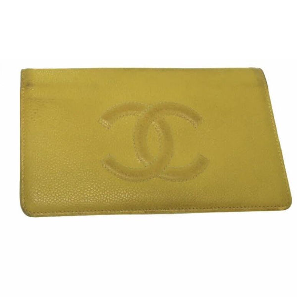 Chanel Caviar CC Logo Long Wallet-Wallets & Clutches-Chanel-Yellow-JustGorgeousStudio.com