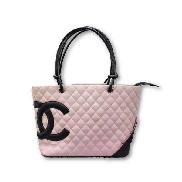 Chanel Ligne Cambon Tote GM Pink & Black-Sold Items-Chanel-Pink/black-JustGorgeousStudio.com