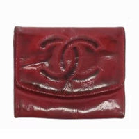 Chanel Patent Leather CC Wallet-Wallets & Clutches-Chanel-Red/Burgundy-JustGorgeousStudio.com