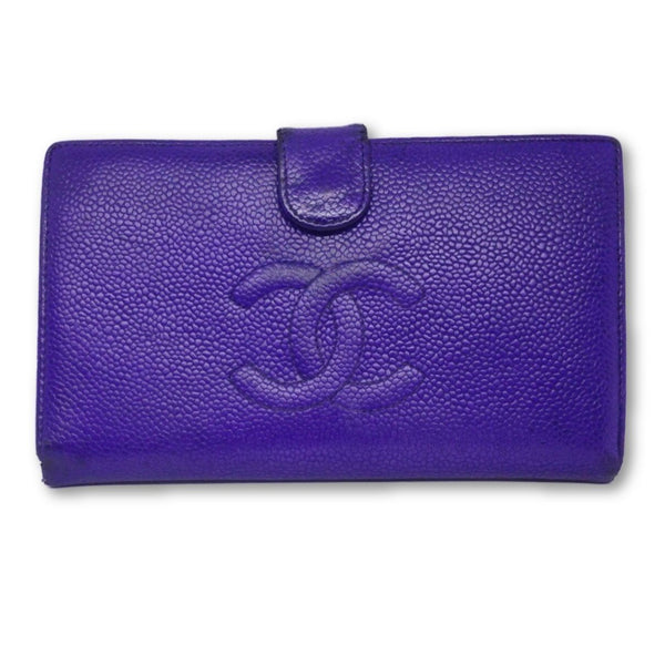 Chanel Timeless CC Snap Bifold Wallet-Wallets & Clutches-Chanel-Purple-JustGorgeousStudio.com