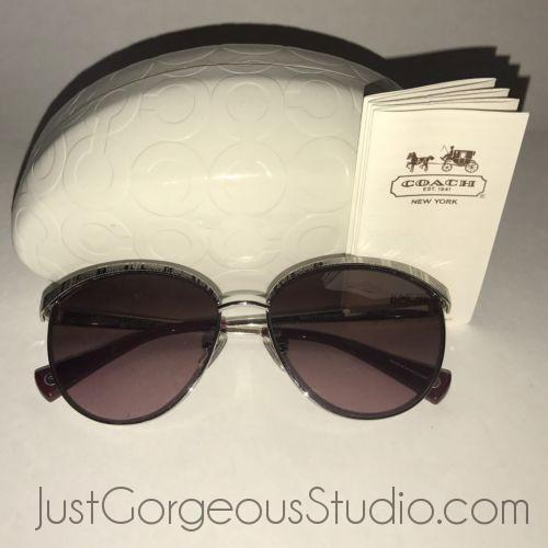 Coach Catrice Sunglasses-Jewelry, Watches, & Sunglasses-Coach-Silver Tone-JustGorgeousStudio.com