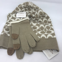 Coach CC Winter Hat and Touch Gloves + Gift Box-Clothing, Shoes & Accessories-Coach-Tan-JustGorgeousStudio.com
