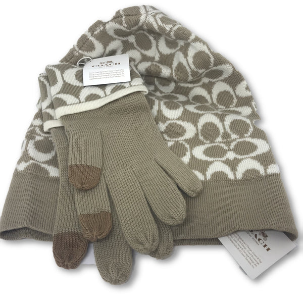 Coach CC Winter Hat and Touch Gloves + Gift Box - Authentic Bags Only