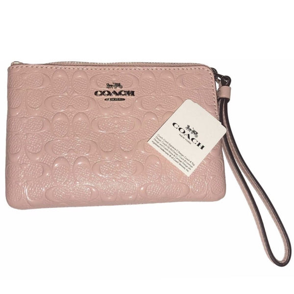 Coach Corner Zip Wristlet In Signature Leather-Wallets & Clutches-Coach-Pink/Silver-JustGorgeousStudio.com
