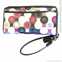 Coach Graphic Scarf Print Sateen Multi Zippy Wristlet Clutch-Sold Items-Coach-Black/purple-JustGorgeousStudio.com