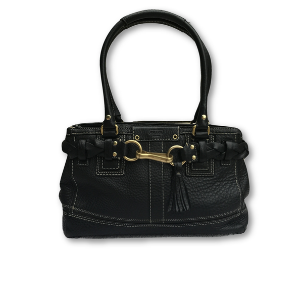 Coach Pebbled Leather Bag-Bags-Coach-Black-JustGorgeousStudio.com