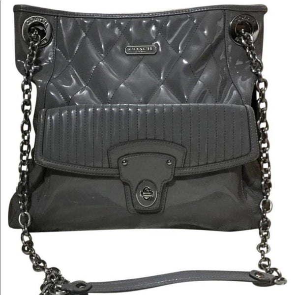 Coach Poppy grey Patent Convertible Crossbody-Sold Items-Coach-Grey-JustGorgeousStudio.com