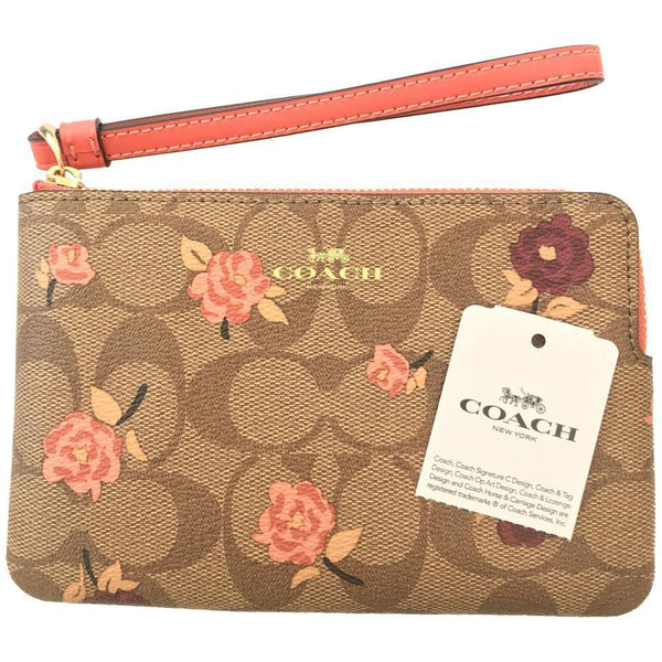 Coach Zippy Pouch Wristlet-Wallets & Clutches-Coach-Pink/Tan/Brown/Red-JustGorgeousStudio.com