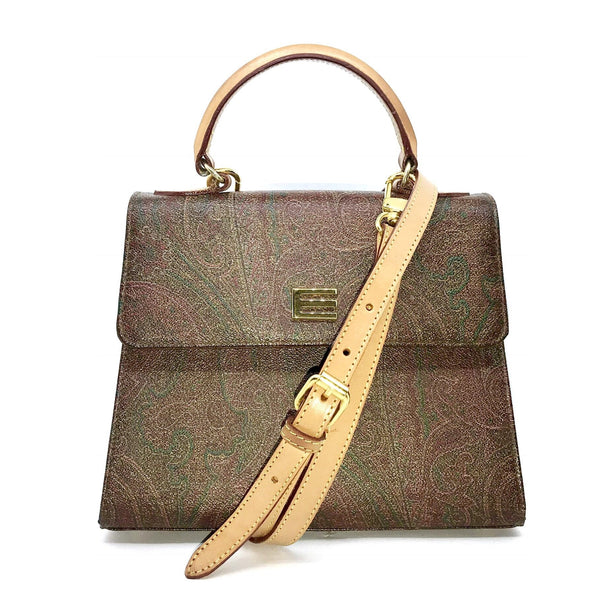 Etro Paisley Kelly Style Cross Body Bag-Bags-Etro-Brown-JustGorgeousStudio.com