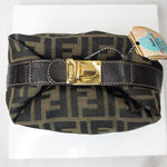 Fendi Locking Monogram Zucca Logo Clutch Baguette-Bags-Fendi-Brown/Tan-JustGorgeousStudio.com