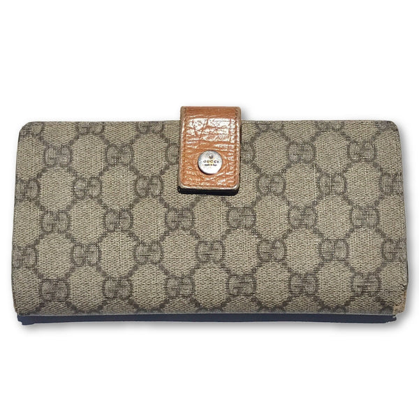 Gucci GG Coated Long Wallet-Sold Items-JustGorgeousStudio.com-Beige/orange-JustGorgeousStudio.com