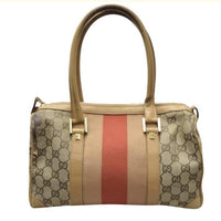 Gucci Monogram GG Small Top Handle Bag Web Striping-Bags-Gucci-Tan/Red-JustGorgeousStudio.com