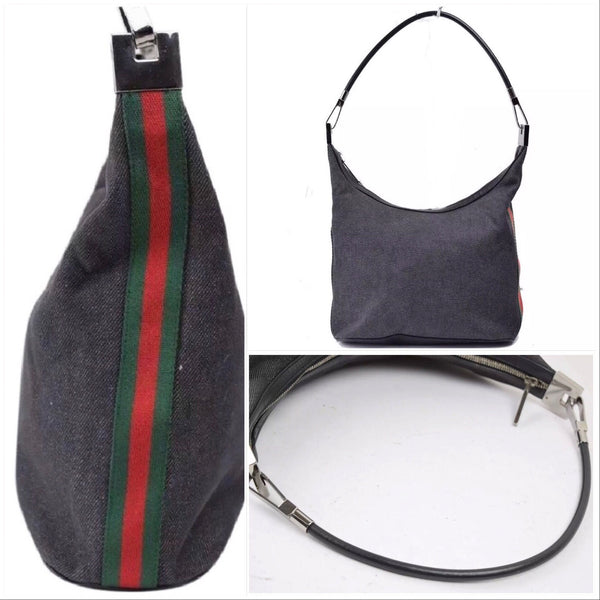 Gucci Striped Web Hobo Bag-Sold Items-Gucci-Black-JustGorgeousStudio.com