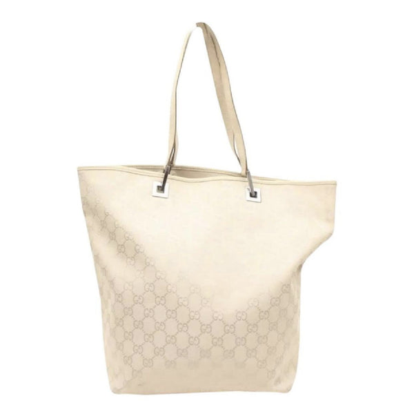 Gucci Tan Creme GG Logo Hobo Bucket Shoulder Tote Bag-Bags-Gucci-Tan/Beige/Cream/Off White-JustGorgeousStudio.com