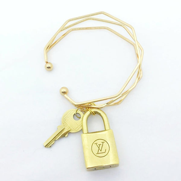 Handmade Louis Vuitton Lock and Key Bracelet Bag Charm-Vintage and Repurposed - Authentic Bags Only - Just Gorgeous Studio