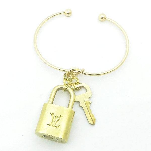 Handmade Louis Vuitton Lock and Key Bracelet Bag Charm-Vintage and Repurposed-Lock & Key, Key Holders, Luggage Tags-Just Gorgeous Studio-Gold (With Key)-JustGorgeousStudio.com