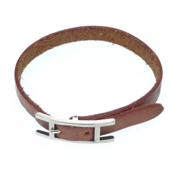 "Hermes Hapi ""H"" Buckle Bracelet-Jewelry, Watches, & Sunglasses-Hermes-Brown/Silver-JustGorgeousStudio.com"