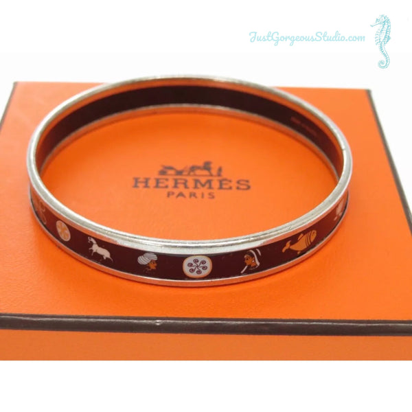 Hermes Vintage Bangle Bracelet-Jewelry, Watches, & Sunglasses-Hermes-Black/Silver-JustGorgeousStudio.com
