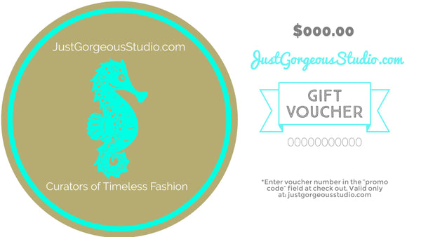 JustGorgeousStudio.com $50 Gift Card-Gift Cards-JustGorgeousStudio.com-White-JustGorgeousStudio.com