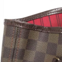 Louis Vuitton Damier Ebene Neverfull MM Tote Bag-Bags-Louis Vuitton-Brown/red-JustGorgeousStudio.com
