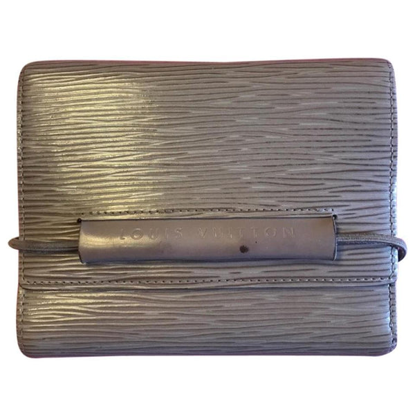 Louis Vuitton Dusty Lilac: Grey-brown Porte Epi Monnaie Elastique Trifold Wallet-Wallets & Clutches-Louis Vuitton-Dusty Lilac-JustGorgeousStudio.com