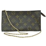Louis Vuitton Monogram Pochette & Chain GM-Wallets & Clutches-Louis Vuitton-Brown-JustGorgeousStudio.com