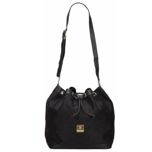 MCM Logo Monogram Bucket Drawsting Bag-Bags-MCM-black-JustGorgeousStudio.com