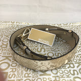 Michael Kors Metallic Leather Shoulder Strap-Straps-Michael Kors-Pewter-JustGorgeousStudio.com