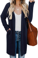 OUGES Women's Open Front Cardigan Shirt with Pockets Long Sleeve Lightweight Coat-JUST GORGEOUS FINDS-JUST GORGEOUS FINDS-Small-Wine-JustGorgeousStudio.com