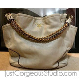 Prada Talco Cervo Lux Leather Chain Side Pocket Shoulder Bag BR3811-Bags-PRADA-White-JustGorgeousStudio.com
