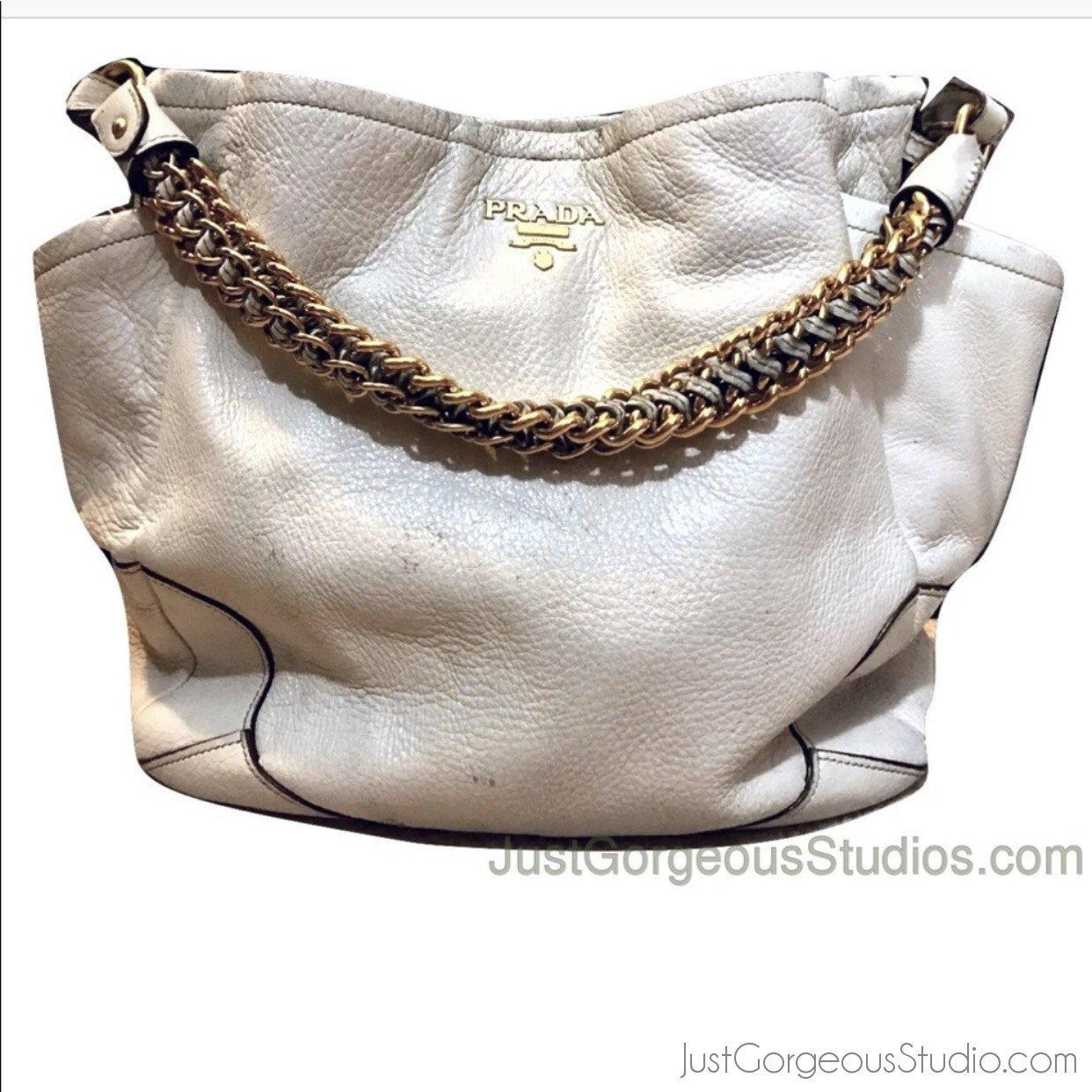 10c0fd24cc8ff8 Authenticity Guaranteed - PRADA Talco Cervo Lux Leather Chain Bag – Authentic  Bags Only