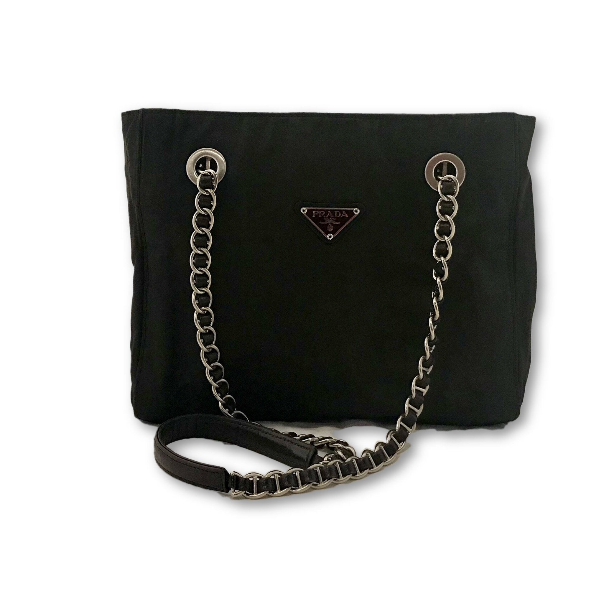 5fd952d9cadc2c Authenticity Guaranteed - Prada Tessuto Bag with Chain Straps – Authentic  Bags Only