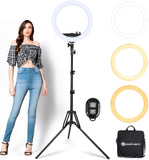 Ring Light with Tripod Stand Yesker 14 Inch LED Ringlight Kit with Phone Holder Adjustable Color Temperature Circle Lighting for Camera for Vlog, Makeup, Video Shooting 14inch-JUST GORGEOUS FINDS-JUST GORGEOUS FINDS-14inch-JustGorgeousStudio.com