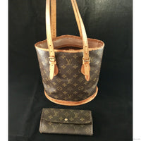 SET! Louis Vuitton Bucket PM & Long Wallet-Sold Items-Louis Vuitton-brown-JustGorgeousStudio.com