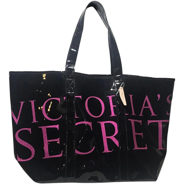 Victoria's Secret Tote Bag-Bags-Victoria's Secret-black/pink-JustGorgeousStudio.com