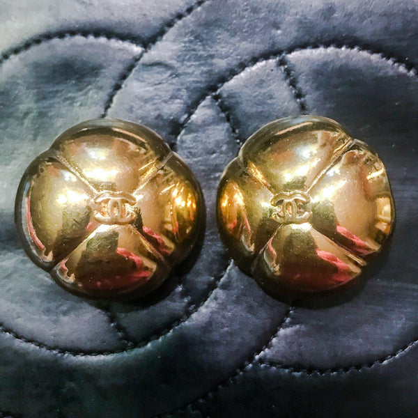 Vintage CHANEL Earrings-Jewelry, Watches, & Sunglasses-Chanel-Gold Tone-JustGorgeousStudio.com