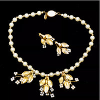 Vintage Valentino Necklace & Earrings Set-Jewelry, Watches, & Sunglasses-Valentino-white/gold-JustGorgeousStudio.com