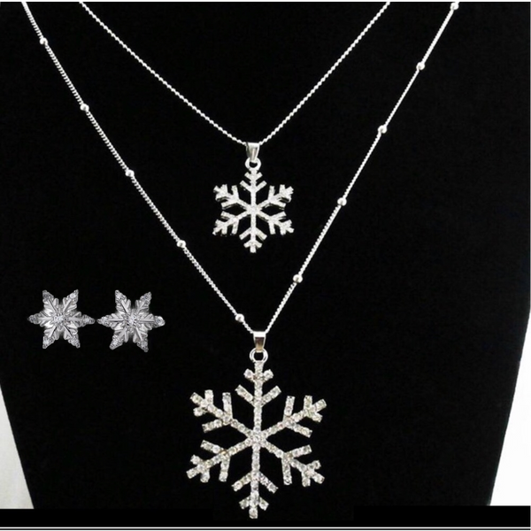 Winter Sparkle Layered Necklace Pendant + Earrings-Jewelry > Necklaces > Pendants-Just Gorgeous Studio-Silver-JustGorgeousStudio.com