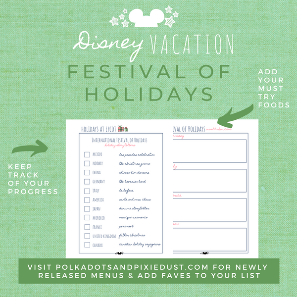 Disney Planner FESTIVAL OF HOLIDAYS Disney Vacation Planner Printable