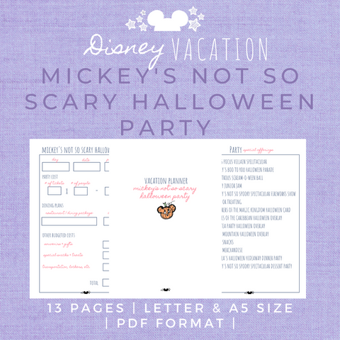 Disney Planner MICKEY'S NOT SO SCARY HALLOWEEN PARTY Disney Vacation Planner Printable