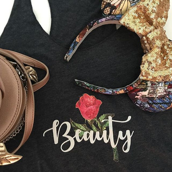 Beauty and the Beast, Belle, A Single Rose, Beauty Tank Top BATB
