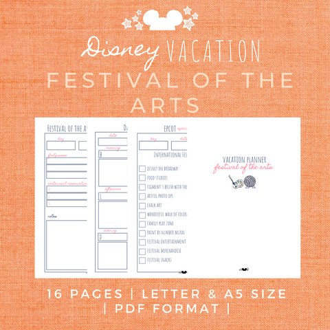 Disney Planner FESTIVAL OF THE ARTS Disney Vacation Planner Printable