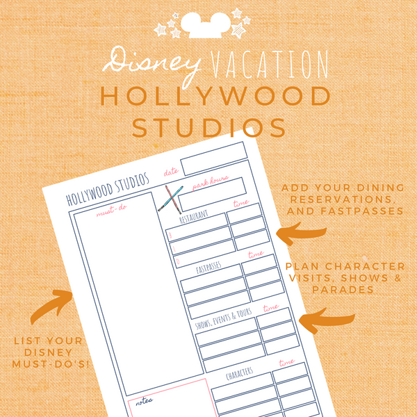 Disney Planner HOLLYWOOD STUDIOS Disney Vacation Planner Printable